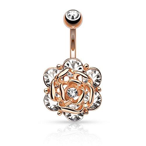 Piercing nombril Fleur Head avec Six Gems doré à l'or fin - Couleur: Rose Or/Clair