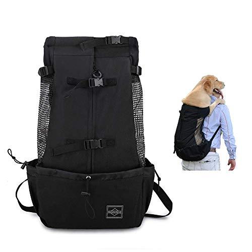 Dogs Backpack Carrier for Medium Large Dogs, Pets Carrier Backpack, Puppys Backpack Extra Pockets Adjustable Dog Carrier Backpack Travel Bag for Bike Hiking Motorcycle