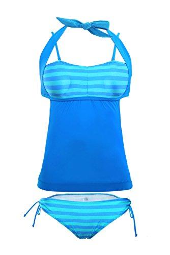 Boutiquefeel Traje de Baño con Raya Patchwork Tankini Swimsuit para Mujer Azul