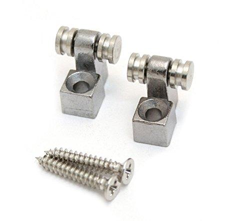 Set of 2 Guitar Roller string guides retainers chrome + screws (SG-00034) (Set Nut Retrofit)