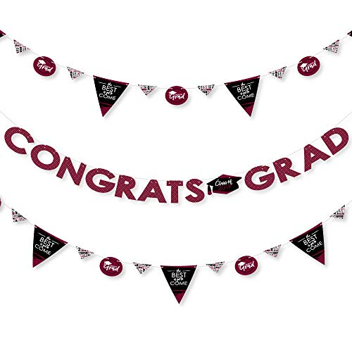 Maroon Grad - Best is Yet to Come - 2019 Burgundy Graduation Party Letter Banner Decoration - 36 Banner Cutouts and Congrats Grad Banner Letters