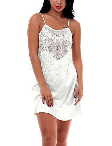 Yulee Women's Sexy Sleepwear Slip Satin Chemises Nightshirt White, (White Sheer Nightshirt)