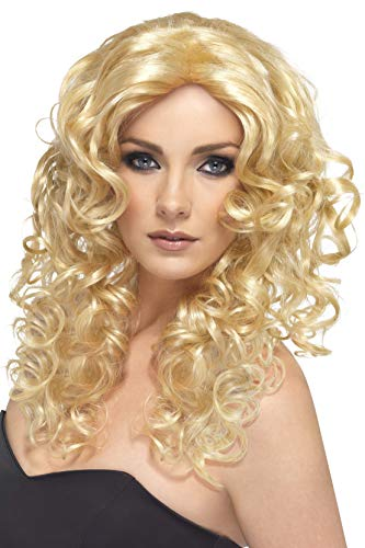 Smiffys Women's Long and Curly Blonde Wig, One Size, Glamour Wig, ()