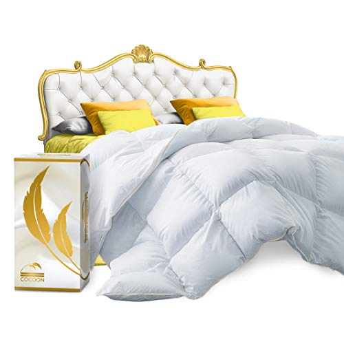 Cocoon Premium Siberian Goose Feathers Queen Size Down Comforter Queen 100% Egyptian Cotton 1200 TC 750+ Fill Power - White Quilted All-Season Down-Filled Hypo-Allergenic Queen Comforter (Best Queen Size Comforters)