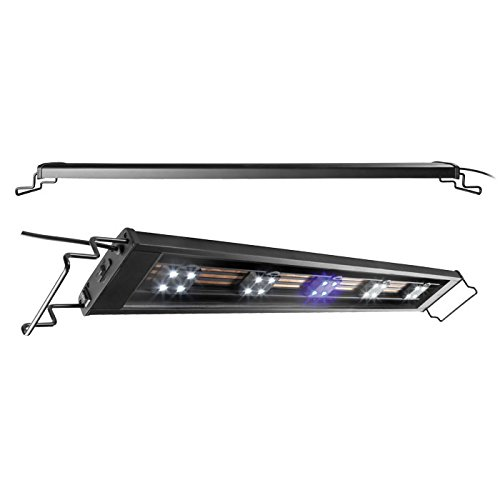 Elive Track Light LED Aquarium Fish Tank Hood, Adjustable from 24-30 Inch, Includes 4 White + 1 Blue Pod, Holds Up to 14 LED Pods (1 1 Black White Twin)