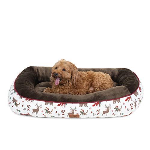 Bedsure Cama Perro Navidad Colchón Perro Lavable con Patrón de Reno Navideño de Felpa Muy Suave