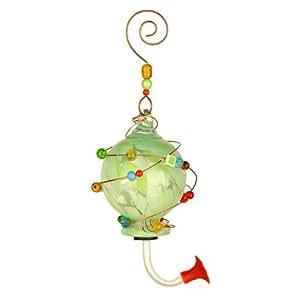 Red Carpet Studios 41193 Blown Glass Hummingbird Feeder, Spotted Green