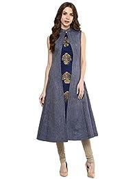 Aahwan Indian Kurtis for Women Denim and Taffteta Silk A-line Sleeveless Calf Long Dress (B001)