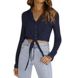 Women Sexy Lace Up Casual Button Long Sleeve Blouse Solid T Shirt Short Crop Top Navy?� X Large