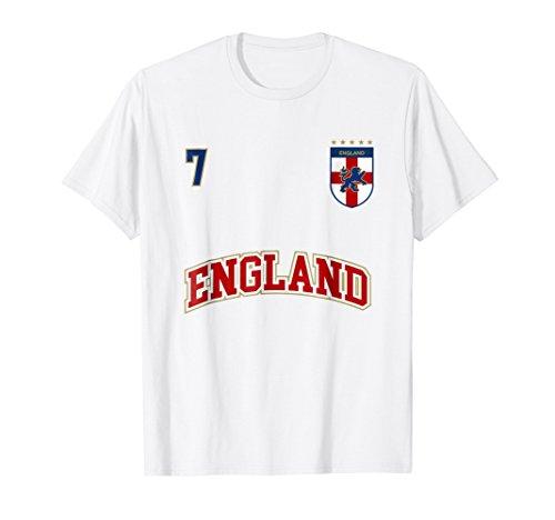 Silver Soccer Uniform - England Football Team Shirt Number 7 Sports English Flag