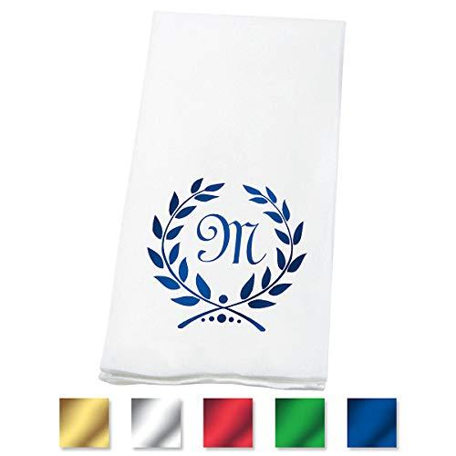 Lillian Vernon Wreath Personalized Monogram Linen-Like Hand Towels (Set of 100)- 50% Cotton 50% Paper Blend, 13