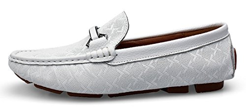 TDA Mens Casual Comfort Checkered Leather Business Driving Dress Doug shoes White w7NAUF