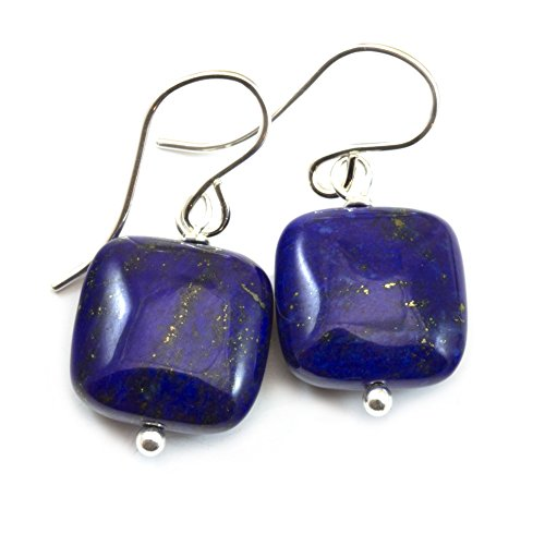 Simple Earrings Gemstone (Sterling Silver Lapis Lazuli Blue Earrings Square Cut Simple Drops Dark Blue Pyrite Flecks)