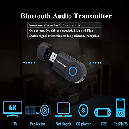 Andven USB Transmisor Bluetooth, Portátil Inalámbrico Música Adaptador Transmitter, para TV/Ordenador/Auriculares/Altavoz, Baja Latencia, Alta Fidelidad Estéreo, Plug and Play: Amazon.es: Electrónica