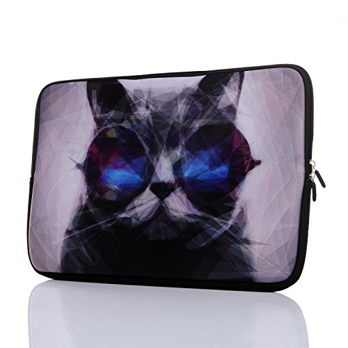 11.6-Inch to 12.5-Inch Neoprene Laptop Sleeve Case with Hidden Handle for 11 11.6 12 12.2 12.5 Inch Men Women MacBook/Tablet/Netbook (11.6-12.5 Inch, Grey Cat)