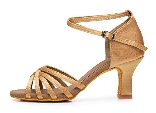 Cdso 688 3 Colores Mujer Satinado Salsa Ballroom Latin Dance Zapatos Beige - 2.76 Pulgadas De Tacón