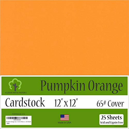 Pumpkin Orange Cardstock - 12 x 12 inch - 65Lb Cover - 25 -