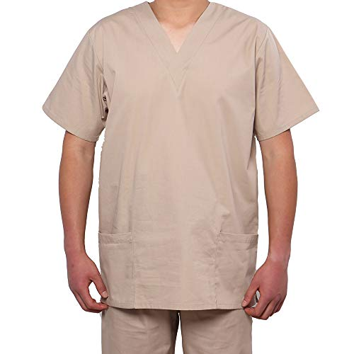 (MEDICLE SCRUBS Scrub Tops Nurse Uniforms Women Men Unisex V-Neck Medical Uniform Side Vents with 2 Bottom Pockets)