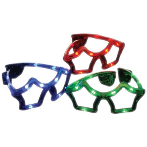 Set Of 3 Assorted Color Star Shape Light UP LED - For Sunglasses Star Shaped Adults