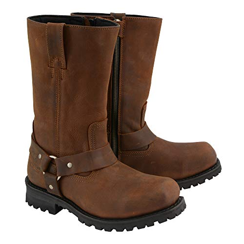 M Boss Apparel BOS49001 Mens 12 inch Classic Distressed Brown Harness Leather Motorcycle Boots - 14