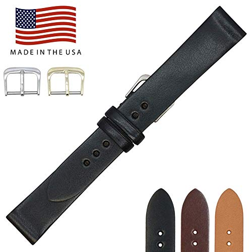 17mm Black English Bridle Leather - Flat Watch Strap Band - Gold & Silver Buckles Included – Factory Direct - Made in USA by Real Leather Creations FBA228