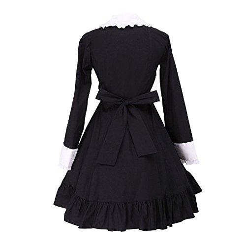 Victorian Womens und Retro Schwarz Maid Bow Kleid Weiss Gothic Partiss Ruffle Lolita OYwq6xUUd
