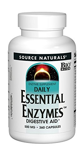 Foods Natural Enzymes (Source Naturals Essential Enzymes 500mg Bio-Aligned Multiple Enzyme Supplement Herbal Defense For Digestion, Gas, Constipation & Bloating Relief & Daily Digestive Health - 360 Capsules)