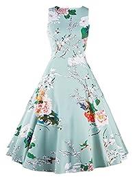 YACUN Women's 1950s Vintage Floral Swing Cocktail Rockabilly Dress