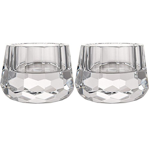 DONOUCLS Crystal Votive Tealight Holders Christmas Decorations for Home 2.5'' Diameter x 1.8'' High Pack of 2 by DONOUCLS