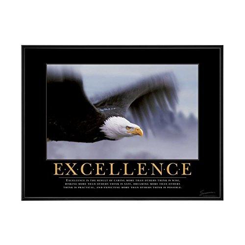 Successories .25 in. Black Aluminum Frame - Excellence Eagle Mini Motivational Poster