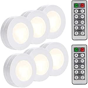 LUNSY LED Puck Lights Battery Operated, Wireless Closet Push Tap Lights with Remote Control, 4000K - 6Pack