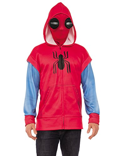 Homemade Costumes For Fancy Dress (Rubie's Spider-Man: Homecoming Adult Homemade Suit Costume Hoodie, Standard)
