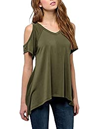 Womens Casual off Shoulder Tees Short Sleeve Top T-Shirt