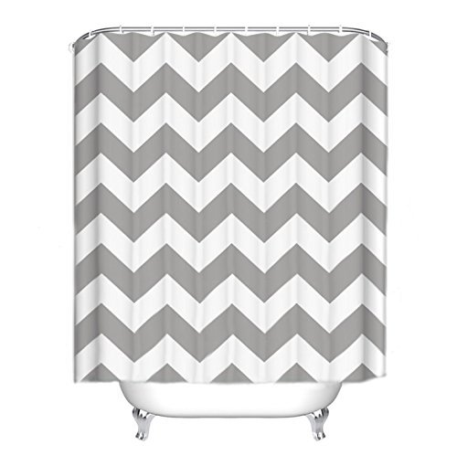 Shower Curtains for Polyester Fabric Gray Geometry Pattern for Bathroom Waterproof/Easy Care (2) ()