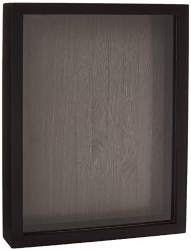 Shadow Box Display Case – Top Loading Black Wood Frame - Showcase Bottle Caps, Shells, Ticket Stubs, Airline Tickets, and More (Charcoal)
