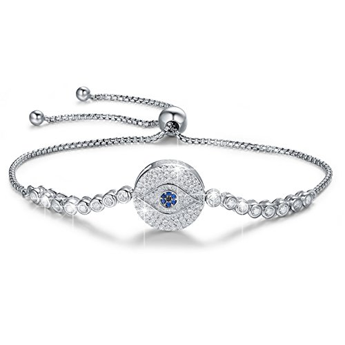 BAMOER 925 Sterling Silver Expandable Lucky Blue Evil Eye Chain Bracelet with Sparkling Cubic Zirconia for Women Girls Style 12