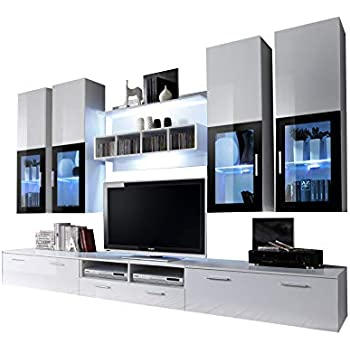 Concept Muebles Presto Modern Wall Unit/Entertainment Centre/Spacious And  Elegant Furniture/TV Cabinets/TV Stands For Modern Living Room (White)