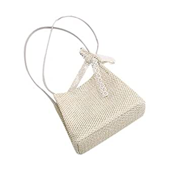 SODIAL Women Handbag Summer Fresh Feminine Woven Bucket Bag Handmade Grass Casual Tote Knitted Rattan Bags Beach Bag Beige Trumpet