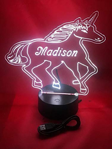 Unicorn Light Up Lamp LED Personalized Table Lamp, Our Newest Feature - It's Wow, with Remote, 16 Color Options, Dimmer, Free Engraved, Great Gift -