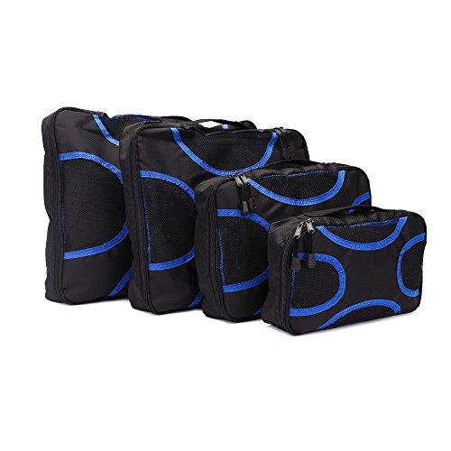 ELZ Kleidertaschen Packwürfel 4-teiliges Set schwarz, Kleidertaschen, Reisetasche in Koffer, Wäschebeutel, Schuhbeutel Kosmetik 001