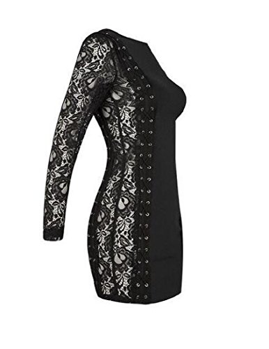 Lace Black Coolred Mini Bodycon Women Sleeve Conjoin Dress Long Crewneck 5wSHwRq