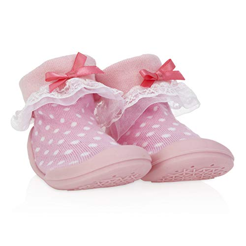 Nuby Snekz Comfortable Rubber Sole Sock Shoes for First Steps- Pink Polka Dots/Medium 14-22 Months