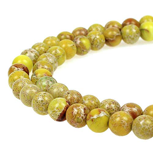 - JarTc Natural Stone 6 Colors Sea Sediment Imperial Jasper Round Loose Beads for Jewelry Making (4mm, Yellow)