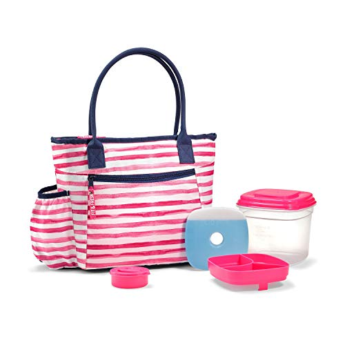 Fit & Fresh Atwater Insulated Lunch Bag Kit with Deluxe Salad Set, Magenta Wash Stripe ()
