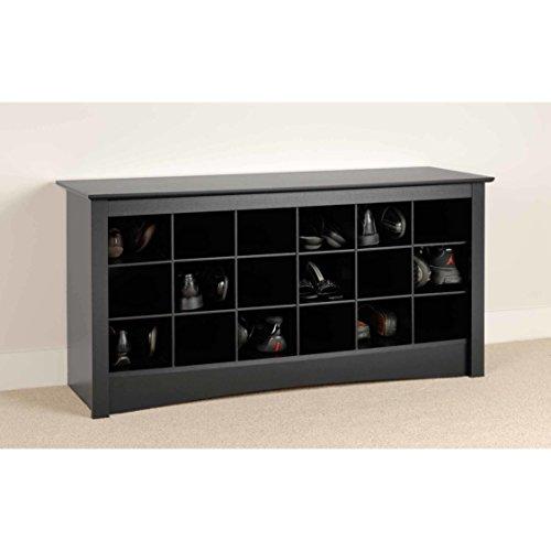 Shoe Storage Durable Wood Cubbie Entryway Black Bench by Monterey_Prepac_