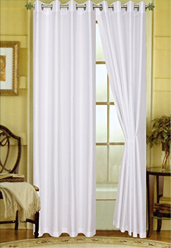 BH Home & Linen A Pair of 2 Faux Silk Grommet Curtain Panels (White, 56