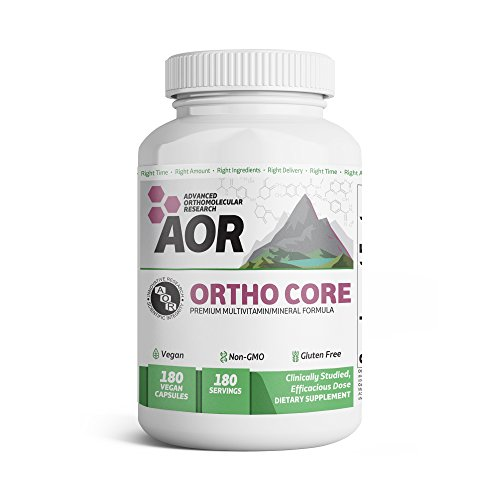 Advanced Orthomolecular Research - Ortho Core, Multivitamin Support for Foundational Health and Balanced Nutrition with B-Vitamins, Folic Acid, and Magnesium, Vegan, Non-GMO, Gluten-Free, 180 Capsules