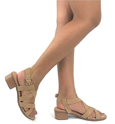W Collection Womens Open Toe Ankle Wrap Strap Block Heel Sandals, Taupe, 10