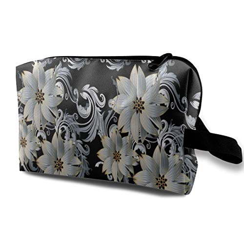 Yunshm Modern Floral Border Pattern White 3D Black Blossom Baroque Customized Cosmetic Storage Bag Large Capacity Woman for Travel Carry Bag -