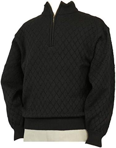 【Aspetiva】【M/L】ウール100% 7ゲージ ハーフジップセーター 紳士/日本製